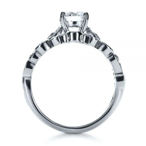 14K White Gold Custom Diamond Engagement Set - Front View -  1154 - Thumbnail