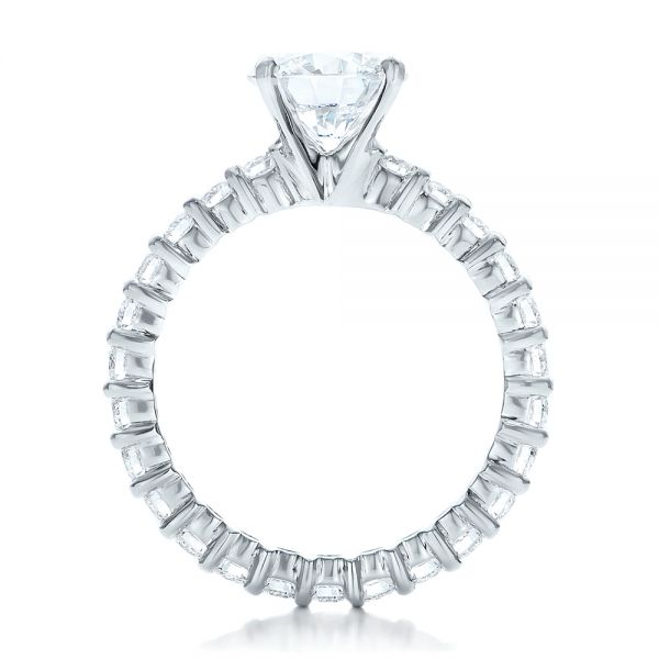 18k White Gold Custom Diamond Eternity Engagement Ring - Front View -