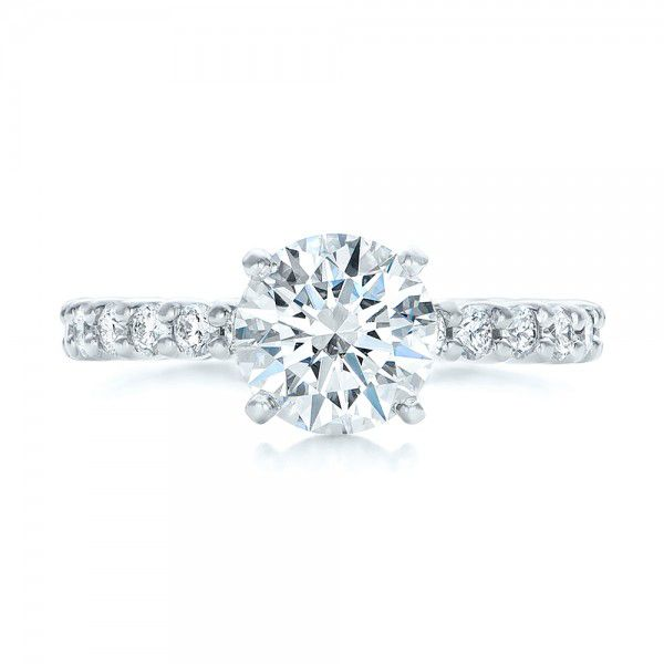 18k White Gold Custom Diamond Eternity Engagement Ring - Top View -