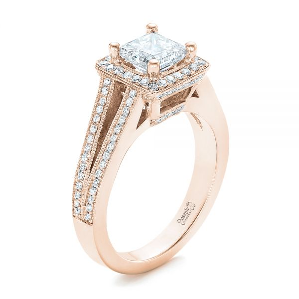 18k Rose Gold 18k Rose Gold Custom Diamond Halo Engagement Ring - Three-Quarter View -