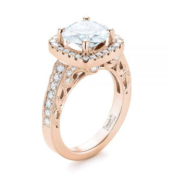 14k Rose Gold 14k Rose Gold Custom Diamond Halo Engagement Ring - Three-Quarter View -