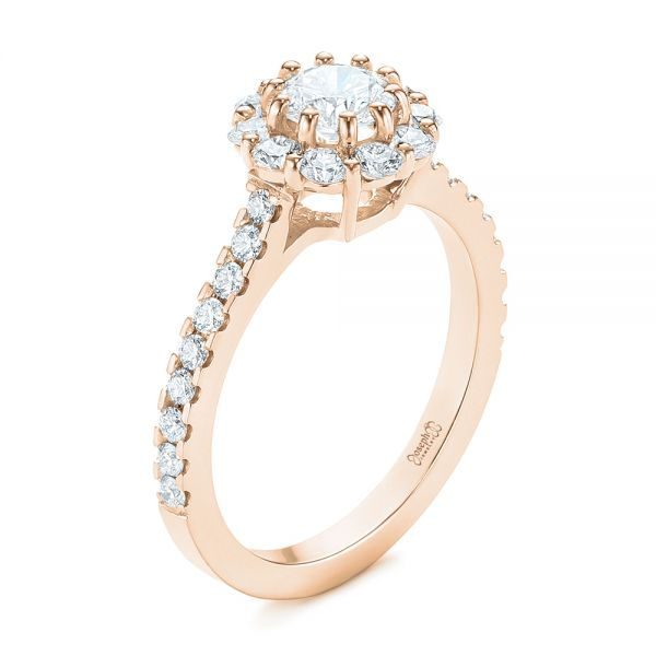 14K Rose Gold Custom Diamond Halo Engagement Ring - Three-Quarter View -  104064 - Thumbnail