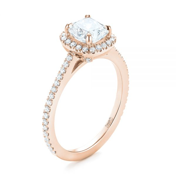 18k Rose Gold 18k Rose Gold Custom Diamond Halo Engagement Ring - Three-Quarter View -  104686 - Thumbnail