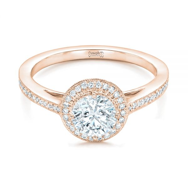 18k Rose Gold 18k Rose Gold Custom Diamond Halo Engagement Ring - Flat View -