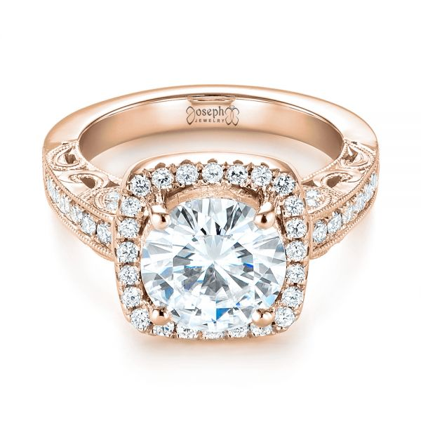 14k Rose Gold 14k Rose Gold Custom Diamond Halo Engagement Ring - Flat View -