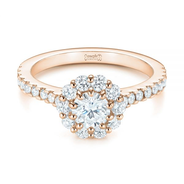 14K Rose Gold Custom Diamond Halo Engagement Ring - Flat View -  104064 - Thumbnail