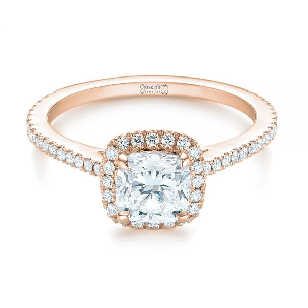 18k Rose Gold 18k Rose Gold Custom Diamond Halo Engagement Ring - Flat View -  104686 - Thumbnail
