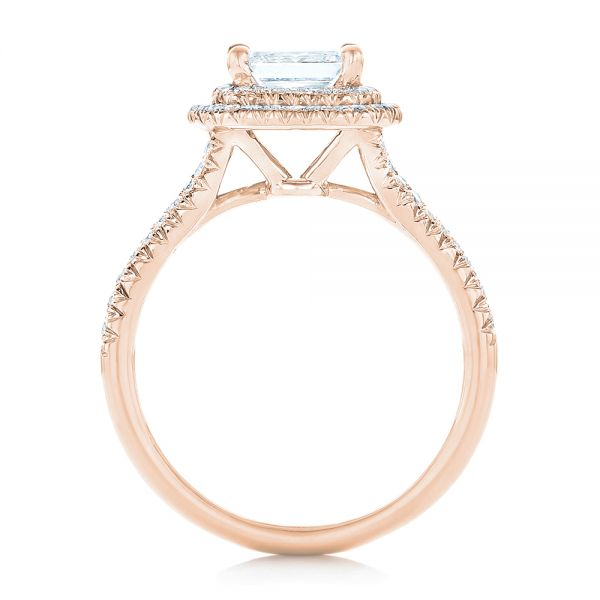 18k Rose Gold 18k Rose Gold Custom Diamond Halo Engagement Ring - Front View -  102771