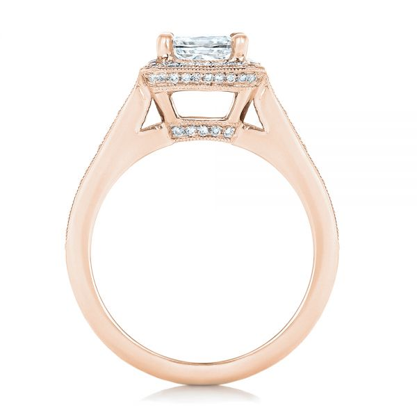 18k Rose Gold 18k Rose Gold Custom Diamond Halo Engagement Ring - Front View -