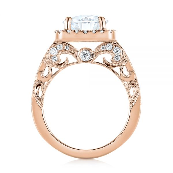 14k Rose Gold 14k Rose Gold Custom Diamond Halo Engagement Ring - Front View -