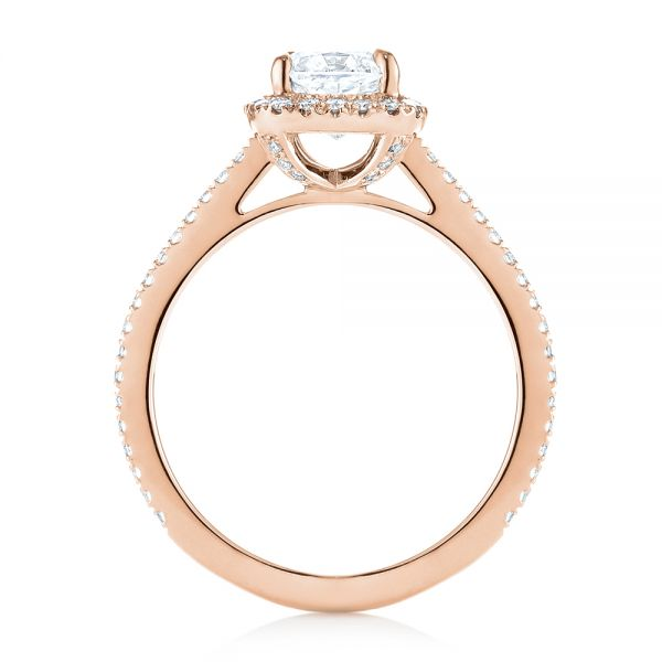18k Rose Gold 18k Rose Gold Custom Diamond Halo Engagement Ring - Front View -  104686 - Thumbnail