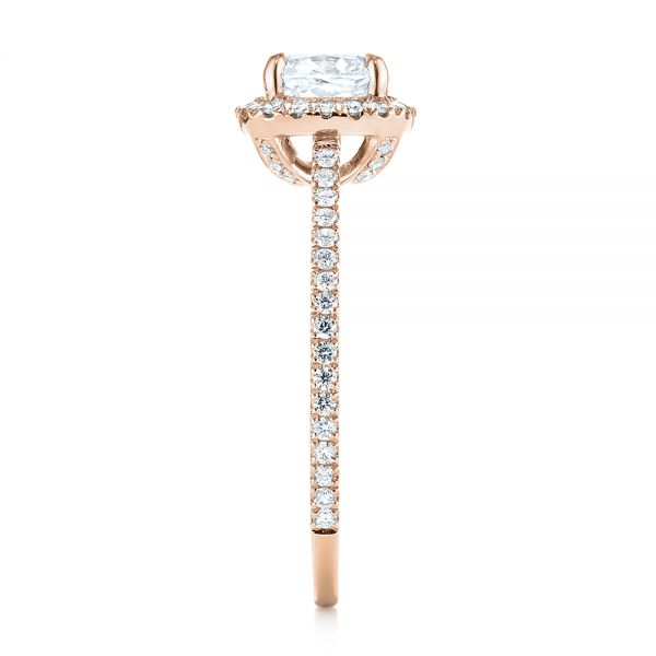 18k Rose Gold 18k Rose Gold Custom Diamond Halo Engagement Ring - Side View -  104686 - Thumbnail