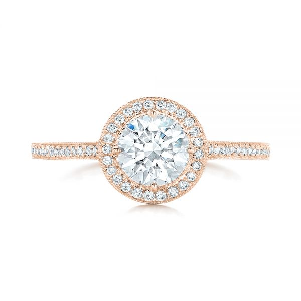 18k Rose Gold 18k Rose Gold Custom Diamond Halo Engagement Ring - Top View -