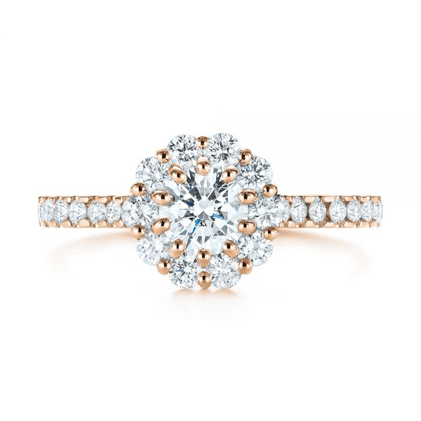 14K Rose Gold Custom Diamond Halo Engagement Ring - Top View -  104064 - Thumbnail