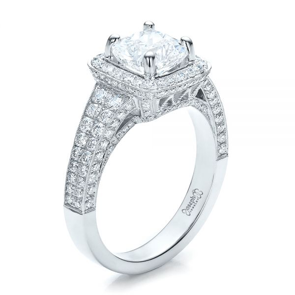 Platinum Custom Diamond Halo Engagement Ring - Three-Quarter View -