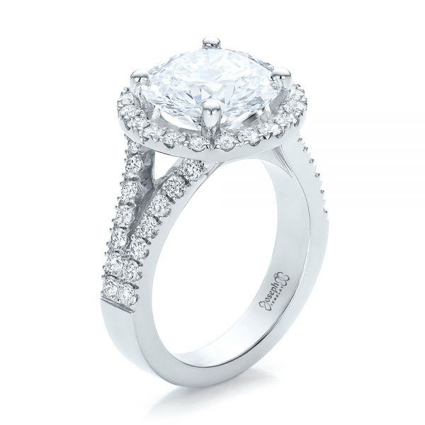 Custom Diamond Halo Engagement Ring - Image