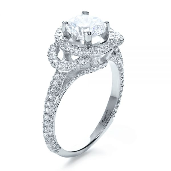 18k White Gold Custom Diamond Halo Engagement Ring - Three-Quarter View -