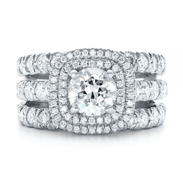 Platinum Custom Diamond Halo Engagement Ring - Three-Quarter View -  103139