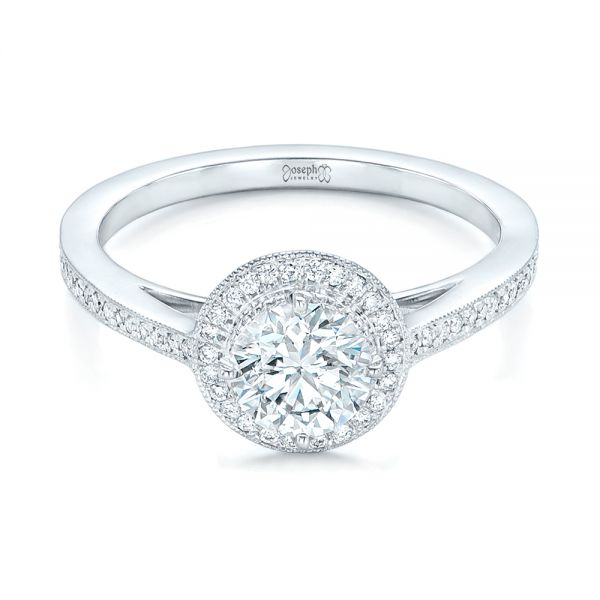 Platinum Platinum Custom Diamond Halo Engagement Ring - Flat View -