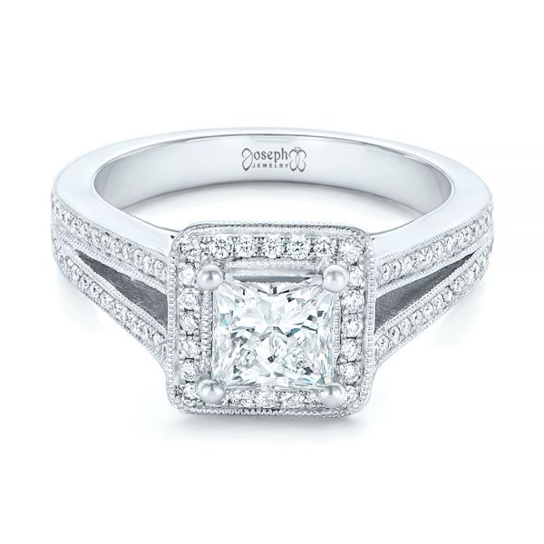 Platinum Platinum Custom Diamond Halo Engagement Ring - Flat View -  102809