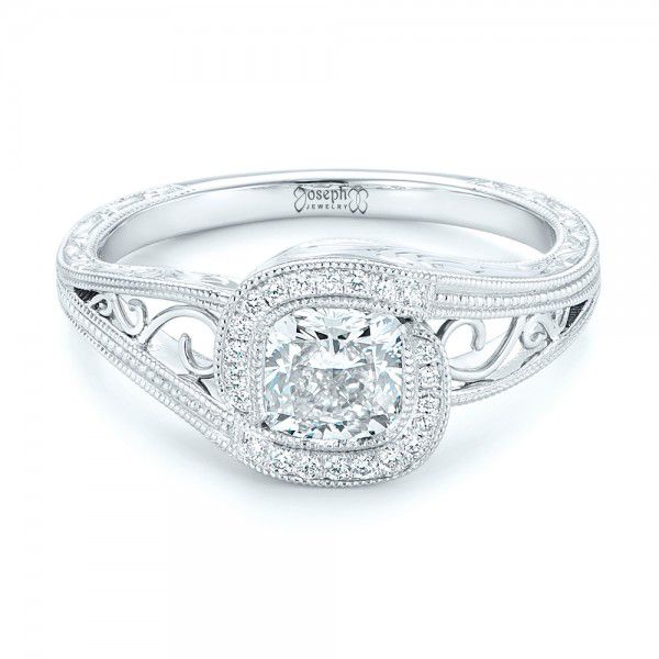 Platinum Custom Diamond Halo Engagement Ring - Flat View -  102936 - Thumbnail