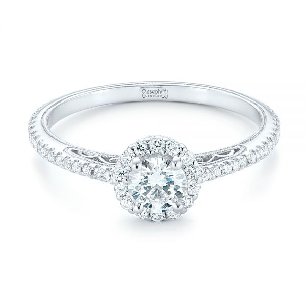 14k White Gold Custom Diamond Halo Engagement Ring - Flat View -