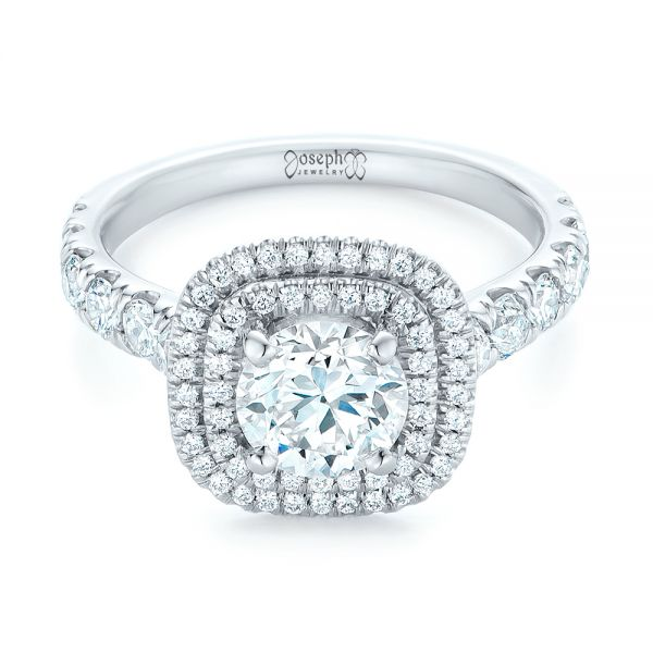 Platinum Custom Diamond Halo Engagement Ring - Flat View -  103139