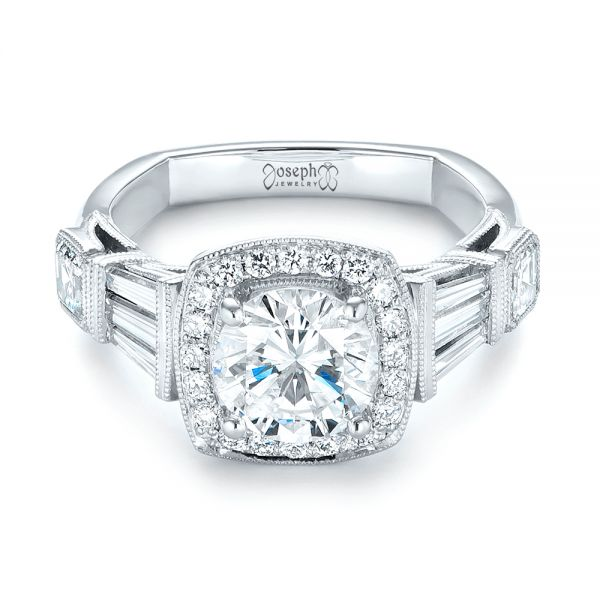Boston Engagement Rings Custom Jewelry: Custom Diamond Halo Engagement Ring #103436