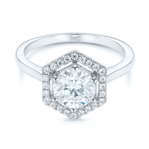 Custom Diamond Halo Engagement Ring - Flat View -  103992 - Thumbnail