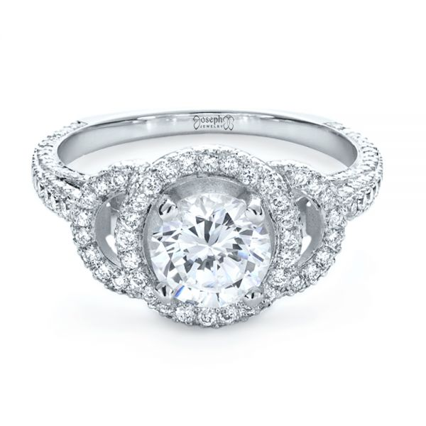 18k White Gold Custom Diamond Halo Engagement Ring - Flat View -