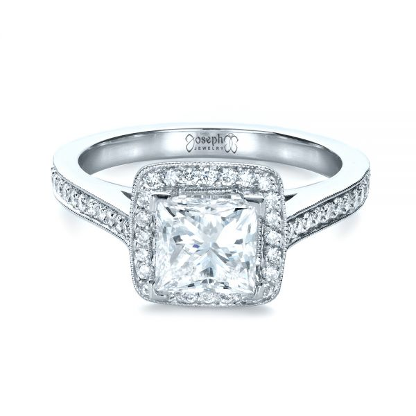Platinum Custom Diamond Halo Engagement Ring - Flat View -