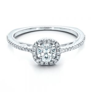 Custom Diamond Halo Engagement Ring