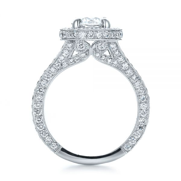 Custom Diamond Halo Engagement Ring - Front View -  100644 - Thumbnail