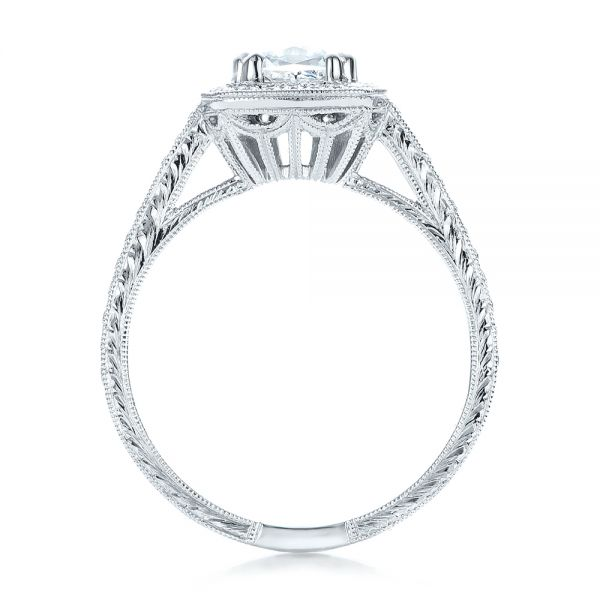 Custom Diamond Halo Engagement Ring - Front View -  100924 - Thumbnail