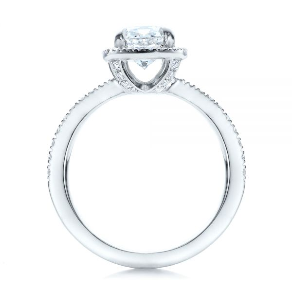 Platinum Custom Diamond Halo Engagement Ring - Front View -
