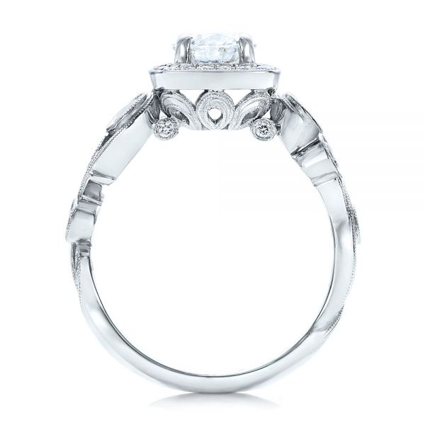 14k White Gold Custom Diamond Halo Engagement Ring - Front View -