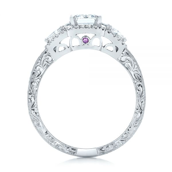 Custom Diamond Halo Engagement Ring - Front View -  102263 - Thumbnail