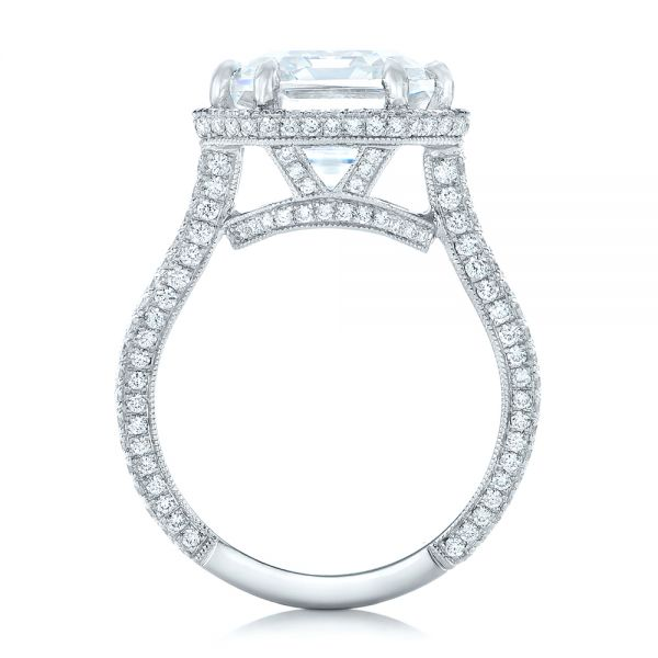 Custom Diamond Halo Engagement Ring - Front View -  102368 - Thumbnail