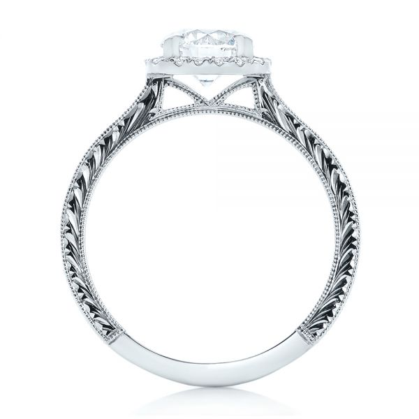 Custom Diamond Halo Engagement Ring - Front View -  102422 - Thumbnail