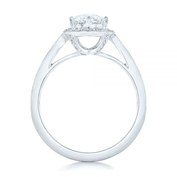 Platinum Platinum Custom Diamond Halo Engagement Ring - Front View -