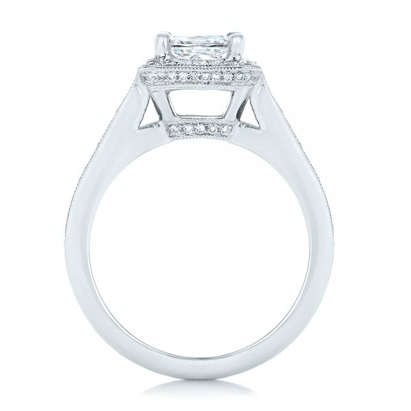 Platinum Platinum Custom Diamond Halo Engagement Ring - Front View -  102809