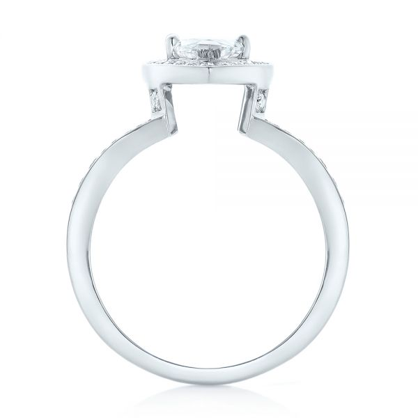 18k White Gold Custom Diamond Halo Engagement Ring - Front View -