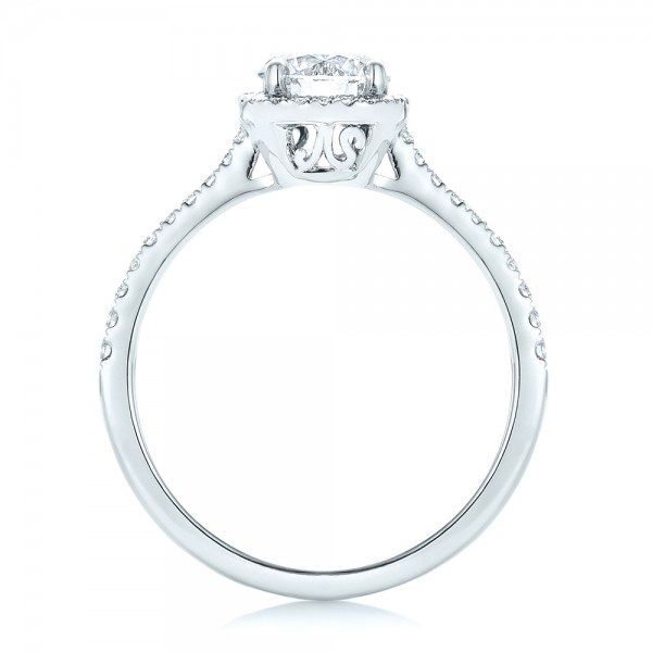 Custom Diamond Halo Engagement Ring - Front View -  103037 - Thumbnail