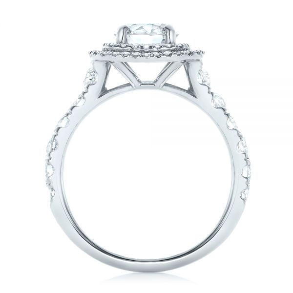 Platinum Custom Diamond Halo Engagement Ring - Front View -  103139