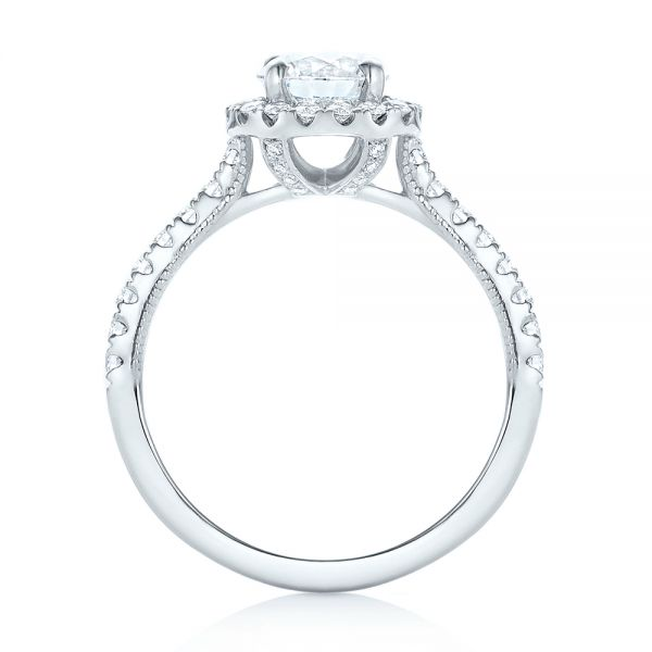 Custom Diamond Halo Engagement Ring - Front View -  103268 - Thumbnail