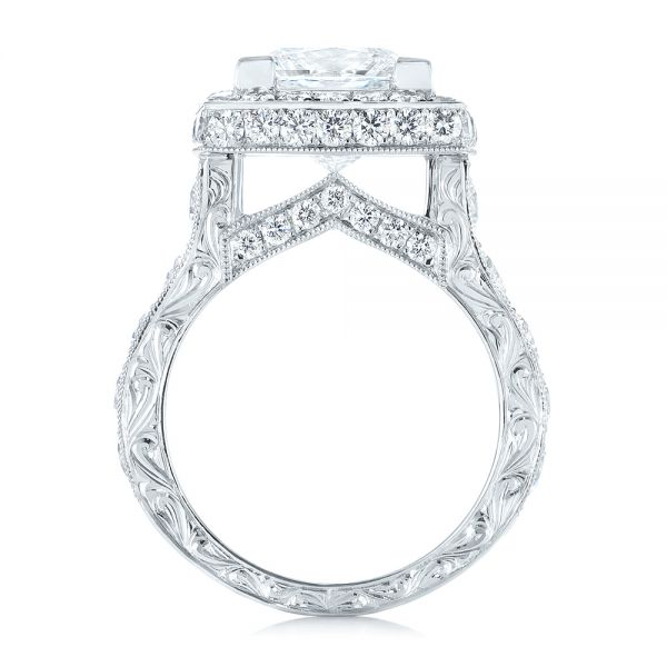 14k White Gold 14k White Gold Custom Diamond Halo Engagement Ring - Front View -  103461