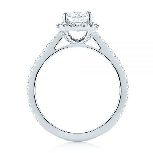 14k White Gold Custom Diamond Halo Engagement Ring - Front View -  104686