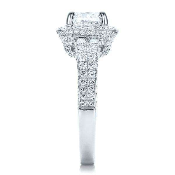 Platinum Custom Diamond Halo Engagement Ring - Side View -