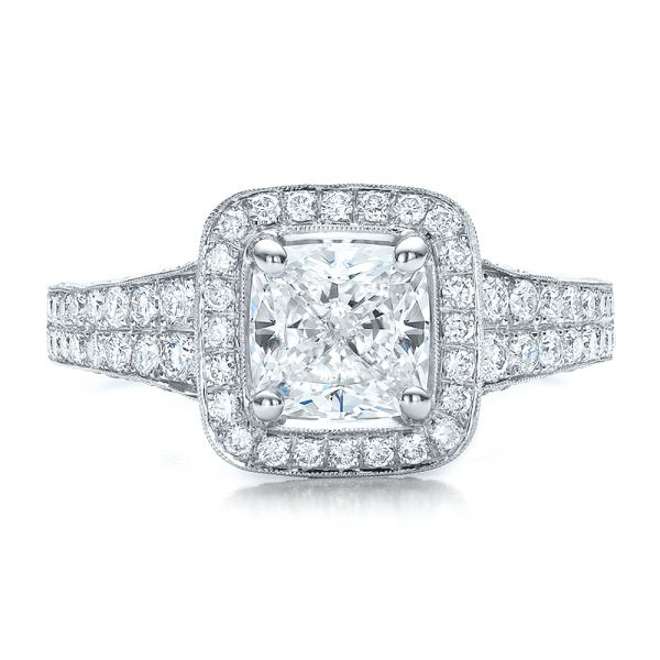 Platinum Custom Diamond Halo Engagement Ring - Top View -