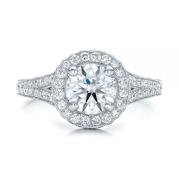 Custom Diamond Halo Engagement Ring - Top View -  100644 - Thumbnail